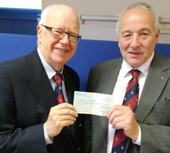 W Bro Adrian Howorth Chairman of the Middlesex Masonic Charity (L); W Bro John Briggs ProvGChStwd (R)
