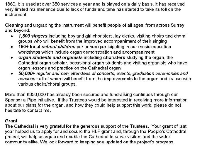 Guildford Cathedral Appeal update - Provincial Grand Lodge of Middlesex