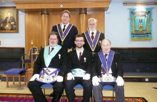 (L to R): Standing l to r: Howard Heyd, Peter Langley<br>seated Ian Cook, Aaron Cook, Derek Cook.