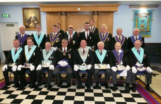 Members of Hillingdon Heath Lodge, No. 7259, which meets at Uxbridge Masonic Centre.