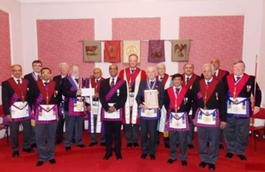 Members of Hegeston Chapter No 5220 <br>at the recent 50 Year Long Service Award <br>presentation to E. Comp George Keen PPrGSN