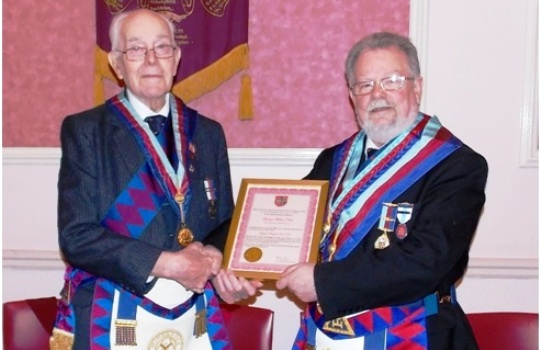 E. Comp George Keen PPrGSN receiving his 50 Year Certificate<br> from E. Comp Paul Lane PAGDC  APGP.
