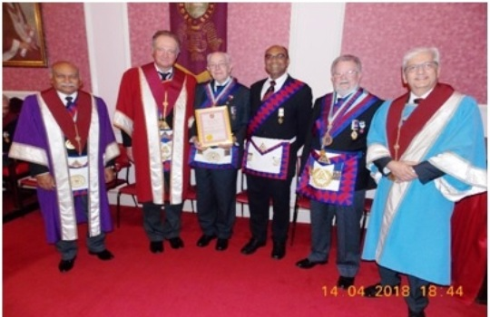 Members of Hegeston Chapter No 5220<br>  (l to r) – E. Comps Manji Patel ProvAGDC, <br>Richard Fielding MEZ PAGDC, George Keen PPRGSN, <br>newly exalted Comp Bansi Shah, E. Comps Paul Lane PAGDC APGP <br>and Bharat Patel, Joshua of the Chapter,