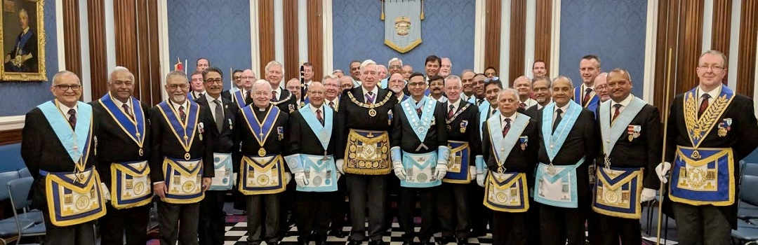 Members of Edgware Lodge together with the Pro Provincial Grand Master and Provincial team