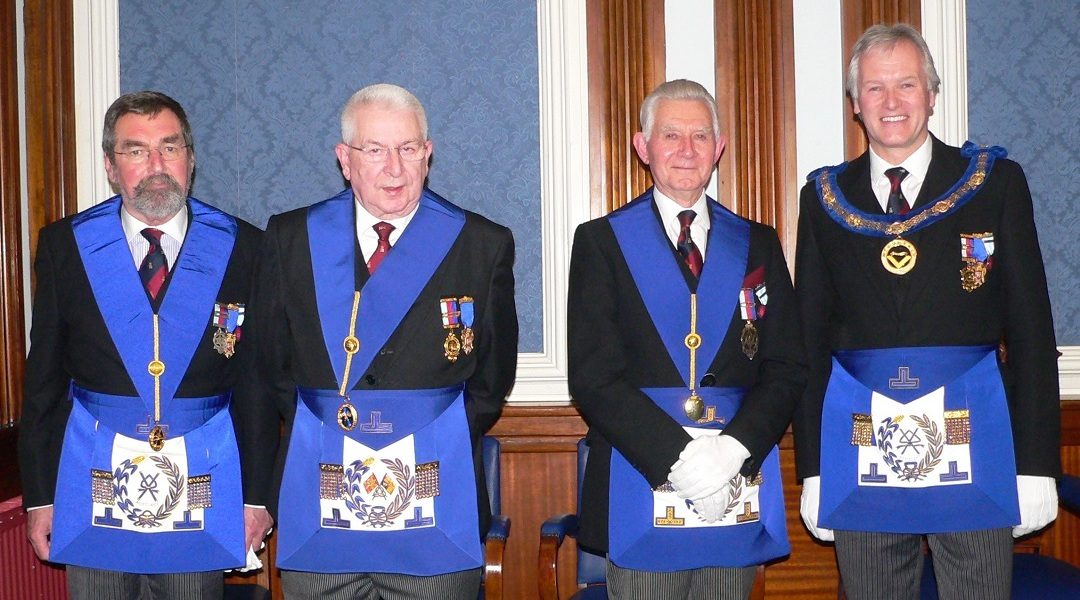 Four distinguished Grand Officer visitors who attended the lecture
