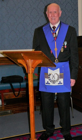 W.Bro. Michael Karn standing by his lectern giving his talk on 'Freemasons and the Great War'