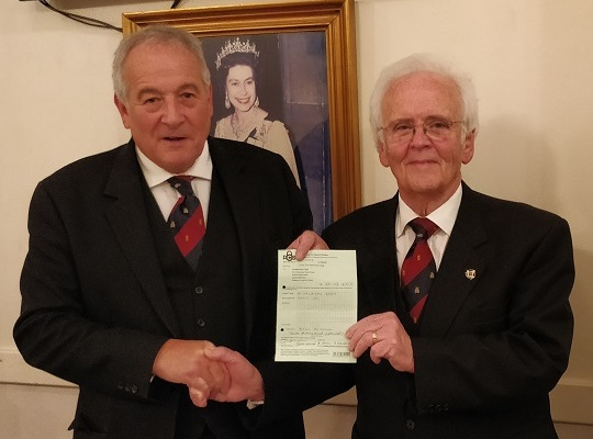 Hemming Lodge, No. 1512 -<br>W Bro Terry Rayner, Charity Steward receiving a voucher for £3,000 <br>the Lodge having achieved Vice Patron status