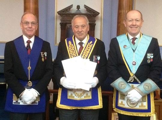 Lodge of Harmony, No. 255 - <br>Charity Steward, W Bro Michael Le Gray & WM , W Bro Michael King <br>receiving £1,400 in vouchers the Lodge having achieved <br>Diamond Grand Patron status
