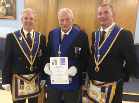 Ruislip Priory Lodge, No. 7290 -<br>W Bro John Harris, Charity Steward & WM, W Bro Russ Fenner<br> receiving Steward Certificate