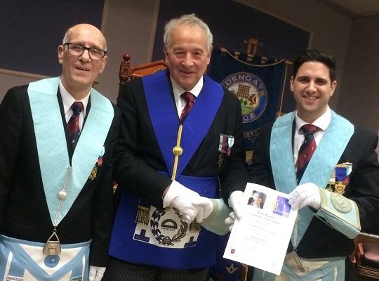 Edengate Lodge, No. 8181 - <br>W Bro James Steven, Charity Steward & WM W Bro Hassan Hurer<br> receiving Steward Certificate