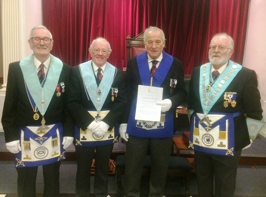 Hadley Highstone Lodge, No. 4203 -<br>WM W Bro Robert Hagon- Torkington & Charity Stewards <br> W Bro Eamonn Fitzgerald and W Bro Jim Aird<br>receiving Platinum Grand Patron Certificate