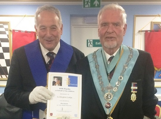 Teddington Lodge, No. 4528 -<br>WM W Bro Peter Atkinson<br> receiving Patron Certificate