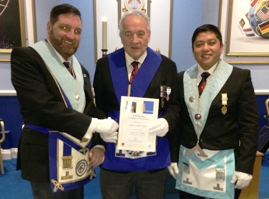 Barra Hall Lodge, No. 8096 -<br>WM, W Bro Richard Canonicato & Charity Steward W Bro Andy Pearce<br> receiving Patron Certificate