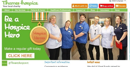 Thames Hospice website